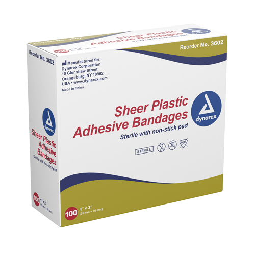 Adhesive Bandages Sheer Strips 3/8 x1-1/2 Sterile Bx/100