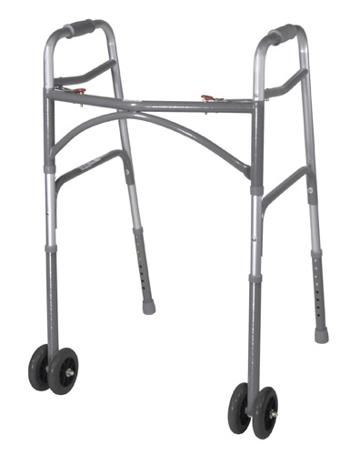 Bariatric Adult Folding Walker w/Wheels Double Button