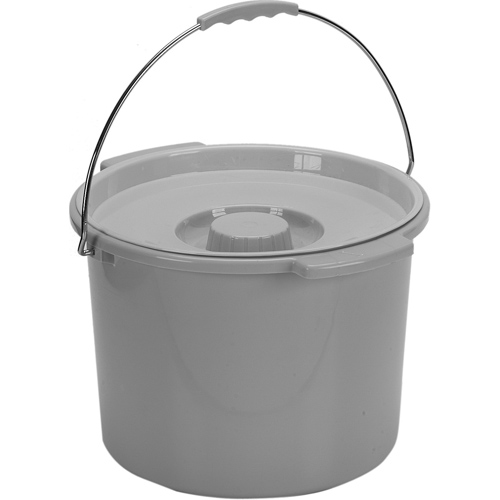 Commode Pail With Lid 7.5 Quart Gray