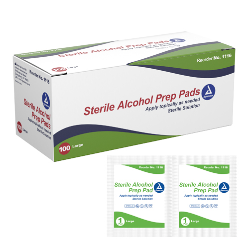 Alcohol Prep Pads Large Bx/100