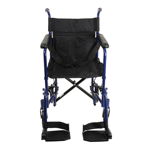 Aluminum Transport Chair w/ Footrests Blue